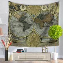 Sunscreen World Map Pattern Multi-function Mandala Retro Tapestry Two Sizes Hippie Wall Hanging Table Cloths Art Decor Yoga Mat