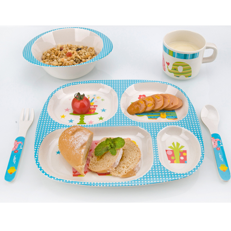 Bamboo Fiber Children Tableware Baby Dishes Kids Dinnerware Plate Bowl Cup Fork Spoon Baby Feeding Set For Toddlers Dishes Plate (1)