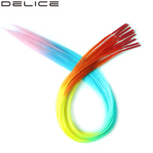 [DELICE] 12 Strands/Pack Rainbow Ombre Straight Synthetic Grizzly I-Tip Hair Extensions With Silicone Beads Free