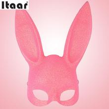 Halloween Funny Gadgets Rabbit Ear Cosplay Mask Sexy Girl Cover Fancy ricks Jokes Pranks Black Pink(China)