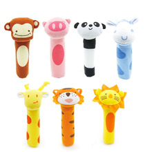 Baby Rattle Stuffed Plush Doll BiBi Bar Stick Toy Giraffe Tiger Monkey Animal Squeaker Toys Infant Hand Puppet Enlightenment D35