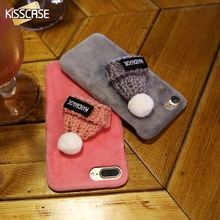 KISSCASE Knitted Hat Case For Samsung S6 S7edge Fur Plush Furry Hard Phone Cases Back Cover For xiaomi 5 redmi 4 pro(China)
