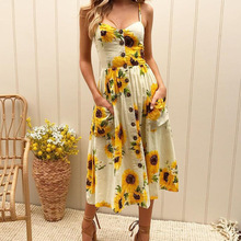 Buy Women Floral Print Dress Summer Casual Halter Sleeveless Button Backless Sexy Dresses Ladies Loose Beach Party Dress LDW762