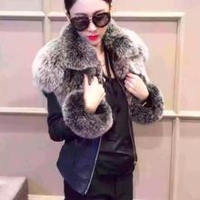 Luxury plush Genuine Sheep Leather Jacket with Real Fox Fur collar  pink / black Women's Winter Motorcycle Jackets Coat