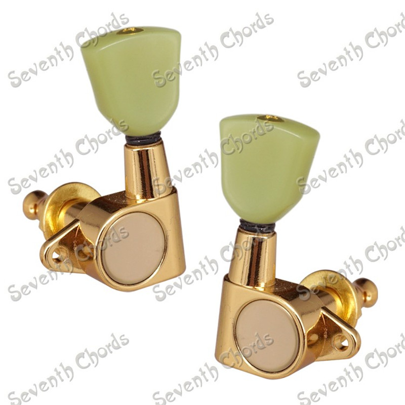 A Set Gold Sealed gear Guitar Tuning Pegs Machine Heads With Trapezoid Jade Green Button<br>