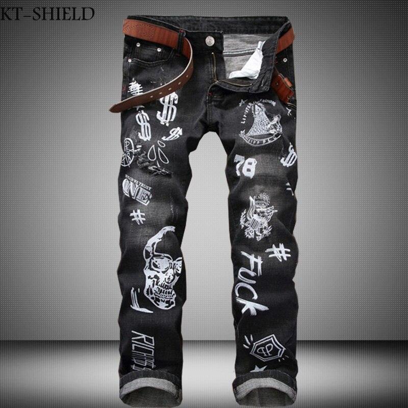 Vintage Printed Jeans Men High Quality Fashion Denim Overalls Mens Straight Elastic Biker Jeans homme Brand Clothing Plus SizeОдежда и ак�е��уары<br><br><br>Aliexpress