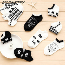MOONBIFFY CAT Warm comfortable cotton bamboo fiber girl women's socks ankle low female invisible color girl boy hosier 1pair
