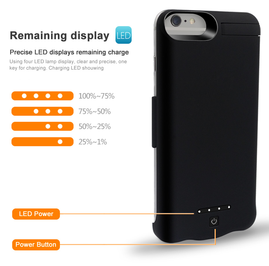 6000 10000mAh Battery Charger Case For iPhone 6 6s Plus Battery Charger Cases External Battery Pack Backup Power Bank (8)