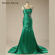 Sexy Green Mermaid Beaded Evening Dresses 2017 with Rhinestone Long Formal  Engagement Party Prom Gowns vestido longo de festa d315429277ad