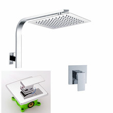 "Free Shipping 8"" or 10"" or 12"" inch square SUS 304 stainless steel ultra-thin shower Set Bath Mixer Wall mounted Water Tap IS029"