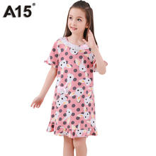 A15 Kids Dresses Pajamas for Girl Summer Child Nightgown Sleepwear Princess Pijamas Robe Pijama Infantil Kids Girl 10 12 14 Year(China)