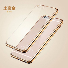 Ultra Thin Gold Plating Crystal Clear Case Cover For iPhone 6 6s Case 6 7 Plus 5 5S Transparent Tpu Soft Cover For iPhone 7 Case