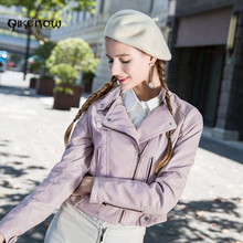 Original Qikenow DPY-017 Autumn Locomotive Leather Jacket Button PU Leather Jacket Women Spliced POLO Collar giacca pelle donna(China)
