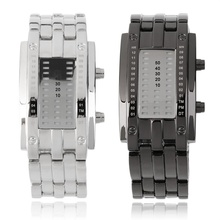 OUTAD Luxury Binary Unisex Digital LED Wrist Watch Rectangle Dial Stainless Steel relogio