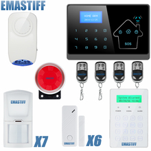 IOS android APP Smart Control Wireless GSM Touch LCD Shock Window Home Secure Burglar system(China)
