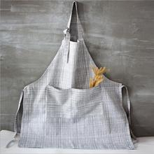 Aprons Novelty Design Linen Adult Apron Gray Color Coffee Shop Painting Work Apron Women Men Aprons with Pocket Schort 2017