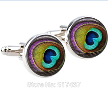 1 pair Men Cufflinks high quality, New Designs of Cuff Links,Peacock Feather, Gold Cufflinks for mens(China)