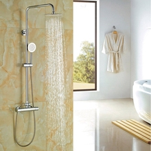 Buy Bath Rainfall Shower Set Chrome Polish Thermostatic Shower Faucet Hand Shower Wall Mounted for $83.79 in AliExpress store