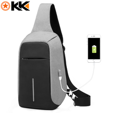 KAKA USB Sling Bag for Men Women Chest Bag Large Capacity Waterproof Summer Short Trip Messengers Crossbody Bags 2017 Hot Sale(China)