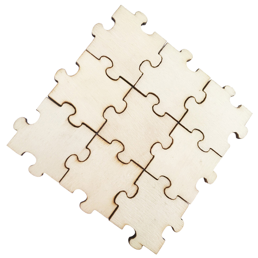 50PCS Wooden Pieces Wood Puzzle Chips Cutouts for Crafts Gift Carving Engraving