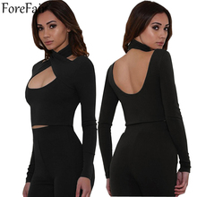 Buy ForeFair Criss Cross Halter Bandage T Shirt Women Long Sleeve Sexy Backless Crop Top Plus Size Tee Shirt Girls Blusa