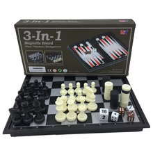 Mini Folding Magnetic Board Game Plastic Chess & Checkers Backgammon 3 in 1 Chess Sets With Chessboard And Chess Pieces Size S(China)