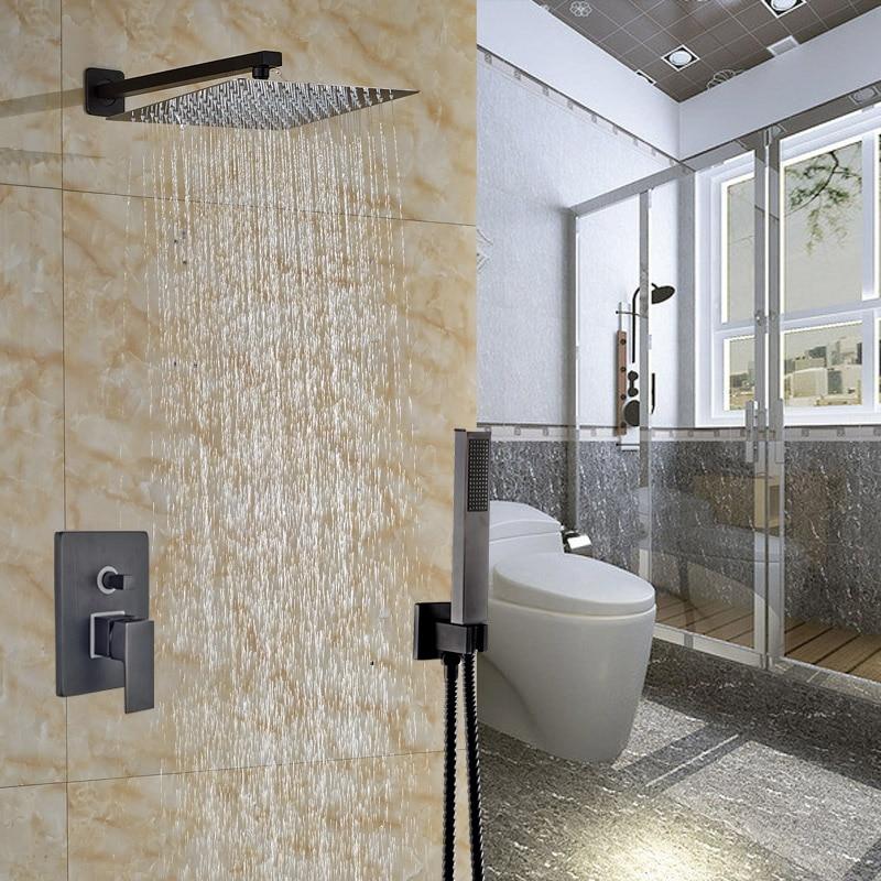 Oil Rubbed Bronze 12 Brass Rain Showerhead + Handshower Bathroom Shower Complete Faucet Set Single Handle<br><br>Aliexpress