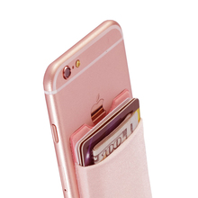 Elastic Lycra Cell Phone Wallet Case Credit ID Card Holder Pocket Stick On 3M Adhesive Black/Gray/Pink/Golden/Green/Blue/Brown(China)