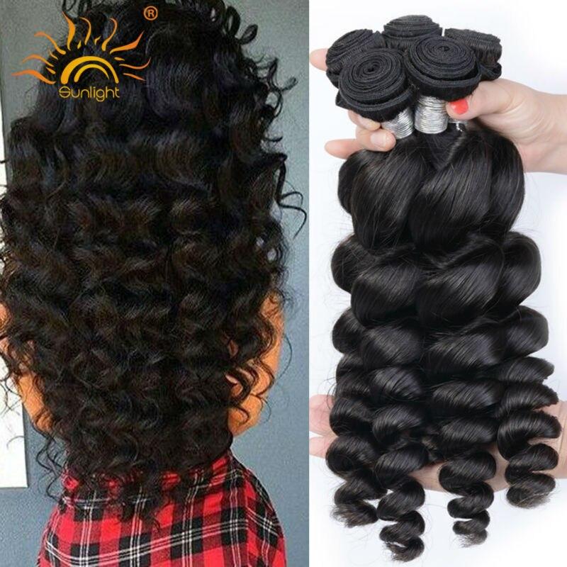 Sunlight Human Hair Brazilian Loose Wave Virgin Hair 3Bundles 8A Raw Unprocessed Brazilian Virgin Hair Loose Body Wave More Wavy<br><br>Aliexpress