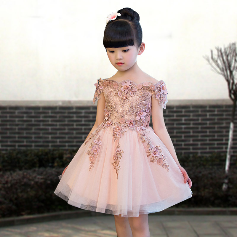 Flower Girl Dresses Wedding Off the Shoulder Appliques Kids Pageant Dress Birthday Costume Girls Formal Dress Party Gowns K05