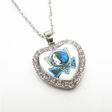 6pcs Crystal Heart Basketball Sports Dallas mavericks Team Necklace with 50cm Chains Necklace Pendant Jewelry