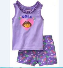 Fashion children's clothing sets Boy girl summer clothing set 2pcs set Dora/kitty/cat pajamas set printing shirts+casual shorts