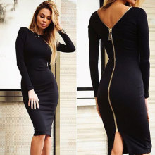 Buy JYConline Back Zipper Pencil Dress Womens Sexy Dresses Night Club Party Dresses Long Sleeve Backless Bodycon Dress 2017 Vestidos for $13.49 in AliExpress store