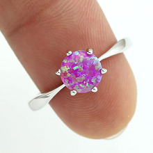 HAIMIS Pink Fire Opal CZ Women Claw Inay Fashion Jewelry Opal Ring Size 6.5 7.5 8.5 23P