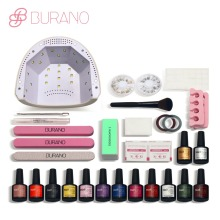 Burano 48w led lamp timer nail dryer choose 12 colors uv gel polish nail art kit set uv gel polish manicure set(China)