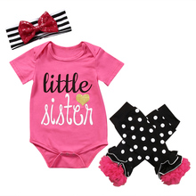 Hi Hi Baby Store US Stock Baby Girl Clothes Newborn Romper Leggings Pants Cotton Outfit Set Clothes 3Pcs