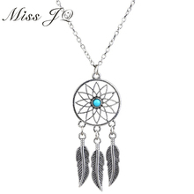 2017 Hot Sale Vintage Dream Catcher Necklace Silver Chain Leaves Feather Wings Pendant Necklace for Women Bohemia Jewelry(China)