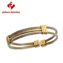 Women Bracelet Gold Jewelry 2017 Stainless Steel Titanium Wistband Trendy Cuff Bangle Alloy Jewelry Charm Classic Link Chain(China)