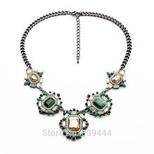 2014 New Design Necklace Wholesale Party Jewelry Light Blue Unique Gorgeous Hematite Statement Necklace