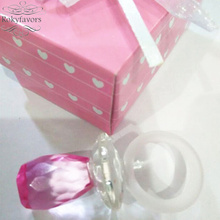 FREE SHIPPING 12pcs Pink Color Choice Crystal Baby Pacifier Birthday Favors Party Keepsake Baby Shower