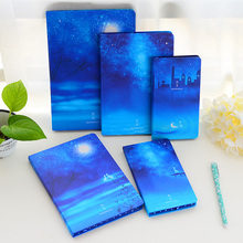 1PC Korea Stationery Beautiful Moonlight Sky Notebooks And Journals Notepad Creative Travel Diary