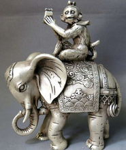 "B0602 8"" China silver carved feng shui lucky money monkey on elephant sculpture Statue(China)"