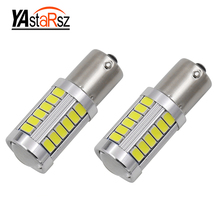 2pcs 1156 BAY15D P21/5W 33 SMD 5630 5730 LED Red White Car Tail Bulb 21/5W Brake Lights auto Fog Lamps Daytime Running Light 2X