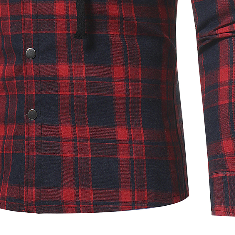 Plaid Shirt 2018 Autumn Fashion Shirts Men Casual Brand Clothing Men Shirt Long Sleeve Casual Lattice Hooded Camisa Social XXXL 15