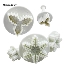 Mac 5pcs/set Snowflake + Leaf Craft Sugarcraft Cake Decoration Fondant Icing Plunger Cutters Cookie Cookies Cutter Tools