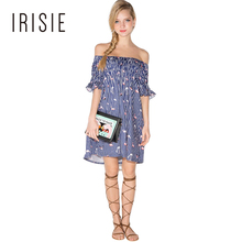 IRISIE Apparel Stripe Flamingo Print Sweet Mini Dress Women Clothing Cold Shoulder Female Vestido Slash Neck Cute Ruched Dress