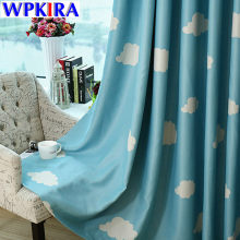 Blue Print Curtain Cloud Design Window Curtain Treatments Pink Sheer Panels For Living Room Bedroom Drapes Sheer Tulle WP125-30(China)