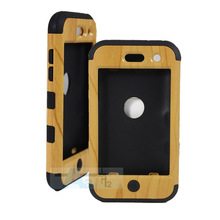 PC + Silicone Hybrid Armor Case cover Case for Apple iPod Touch 4 Wooden pattern Silicon Back Phone Protective Covers