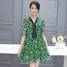 Make summer five new lotus leaf sleeve v-neck printed pure silk dress is loose the a-line dress women beautiful