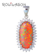 Queen Huge Strip design New Orange Fire Opal Pendants for women  sterling Silver Stamped Fashion jewelry OP593